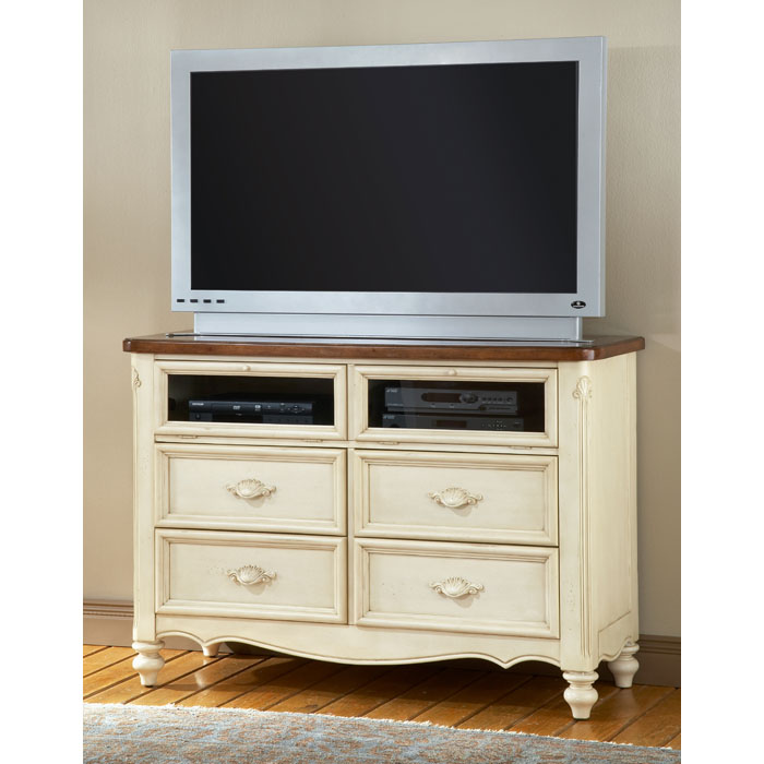 Chateau antique white media stand dcg stores White media console