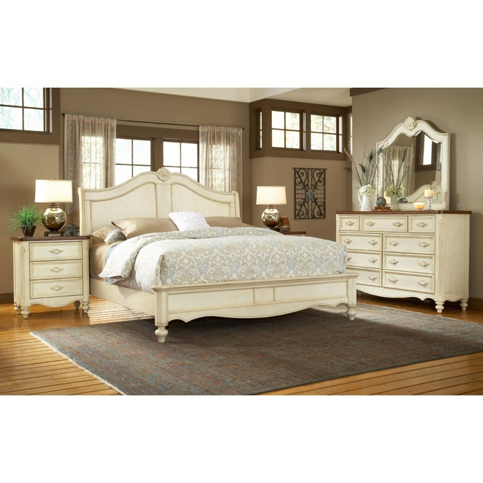 Chateau french country sleigh bedroom set dcg stores for Country bedroom furniture
