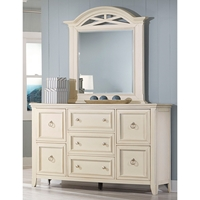 Courtyard Dresser and Mirror Set - 7 Drawers, Arched Top