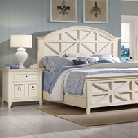 Courtyard Wood Bedroom Set - Champagne, Arched Headboard