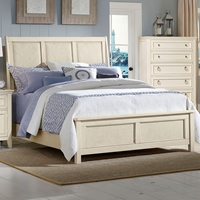 Courtyard Wood Sleigh Bed - Champagne Finish, Woven Raffia