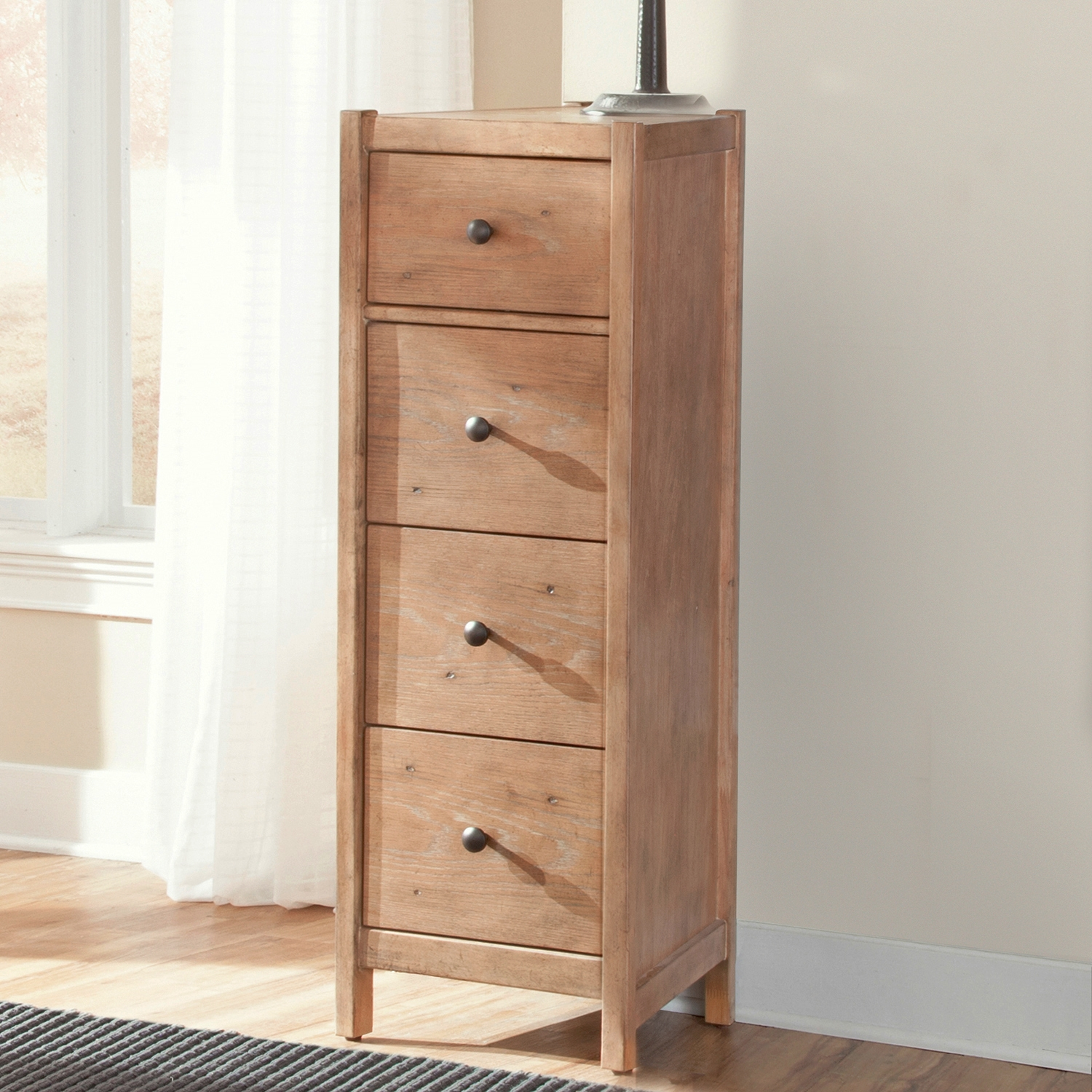 Natural Elements Pier Nightstand in Soft Driftwood with Off-White Glaze - AW-1000-142
