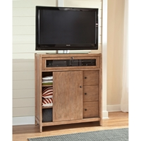 Natural Elements Entertainment Center in  Soft Driftwood with Off-White Glaze