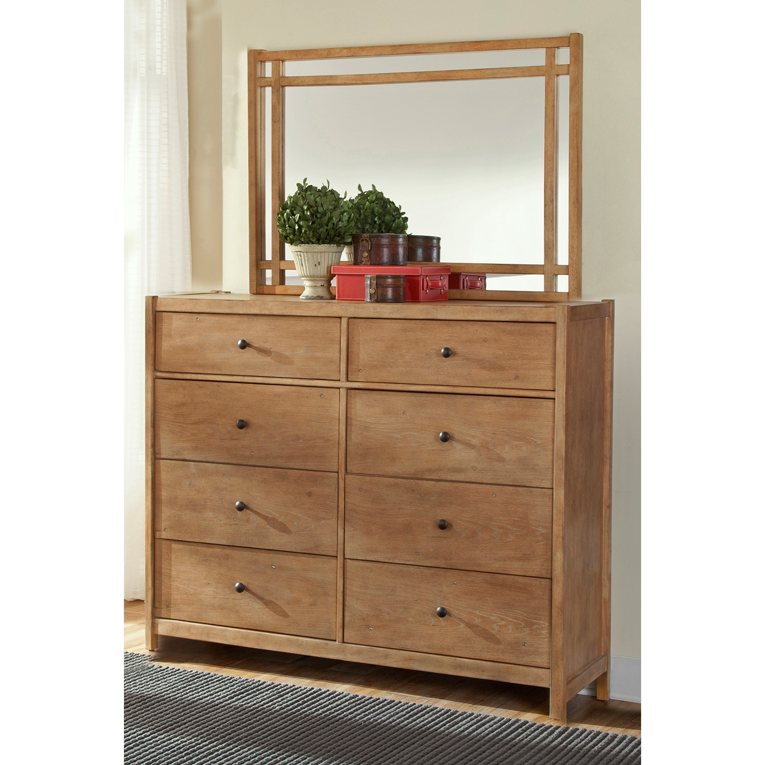 Natural Elements 8-Drawer Dresser in Soft Driftwood with Off-White Glaze - AW-1000-280