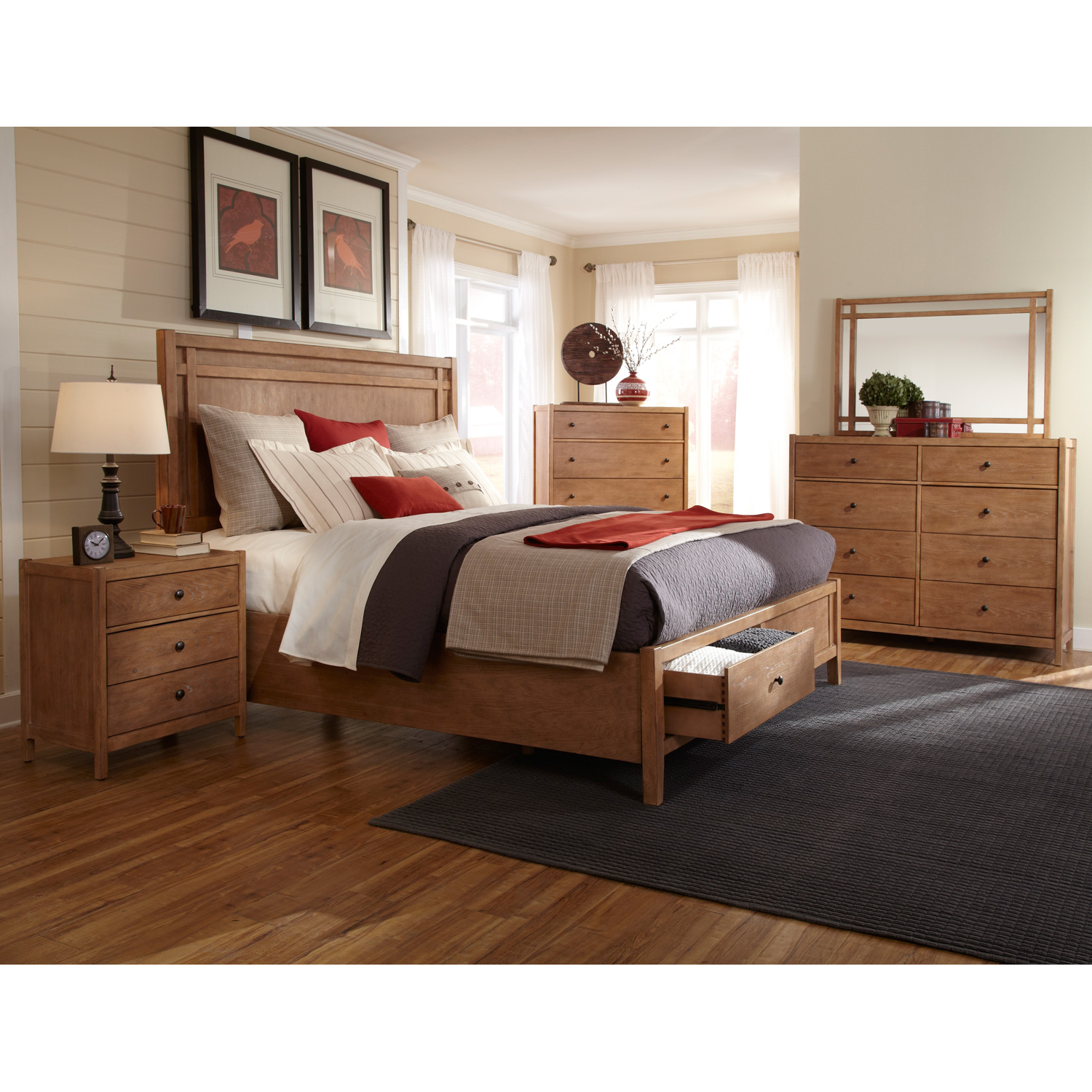 Natural Elements Queen Panel Storage Bed in Soft Driftwood with Off-White Glaze - AW-1000-50PBS