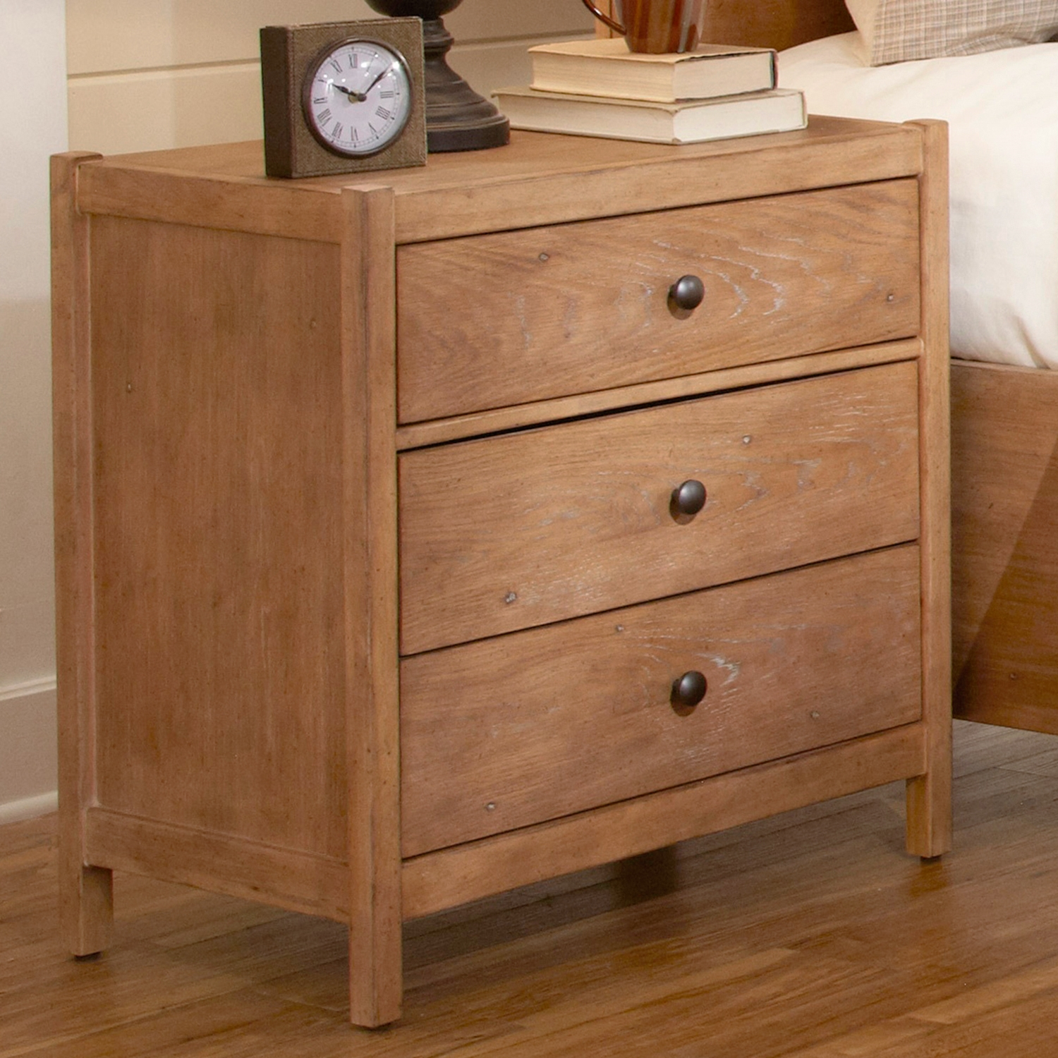 Natural Elements Nightstand In Soft Driftwood With Off