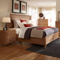 Natural Elements Queen Panel Bed Set in Soft Driftwood with Off-White Glaze