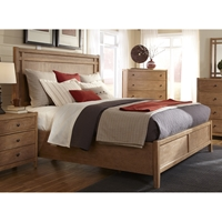 Natural Elements Queen Panel Bed in Soft Driftwood with Off-White Glaze