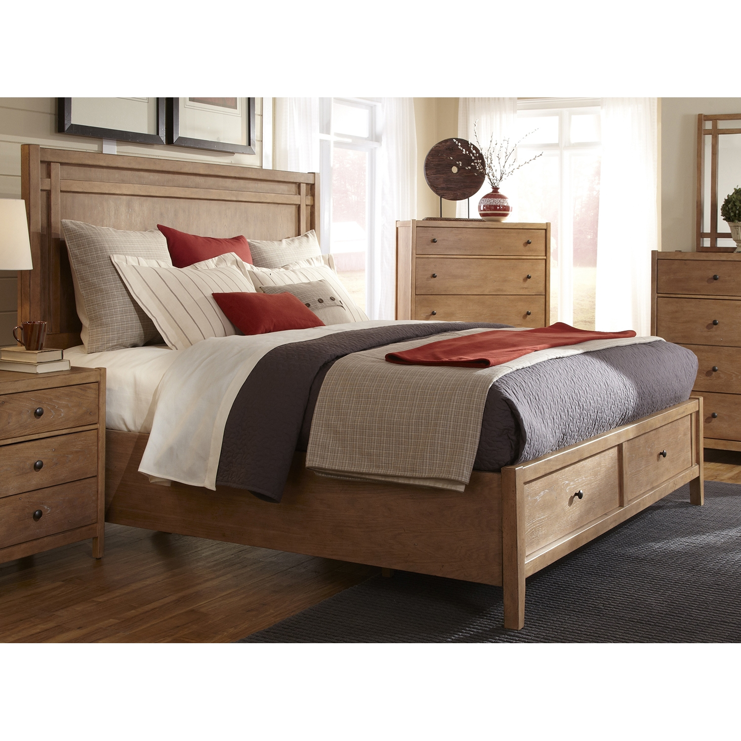 Natural Elements Queen Panel Storage Bed In Soft Driftwood