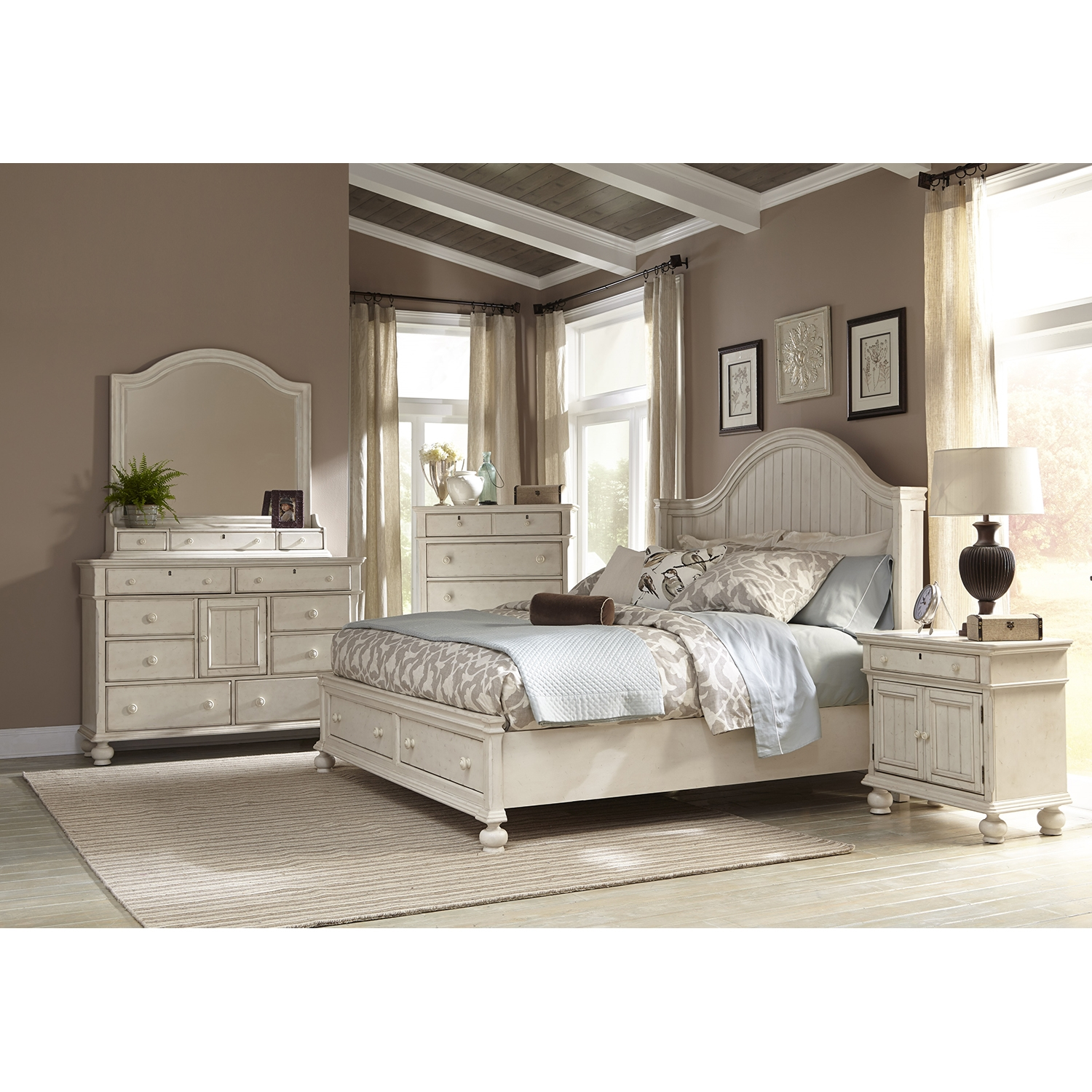 Newport King Panel Storage Bedroom Set in Antique Birch - AW-3710-66PBS-SET