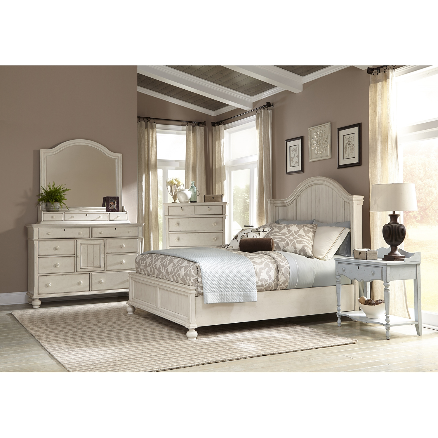 Newport King Panel Bed Bedroom Set in Antique Birch - AW-3710-66PAN-SET