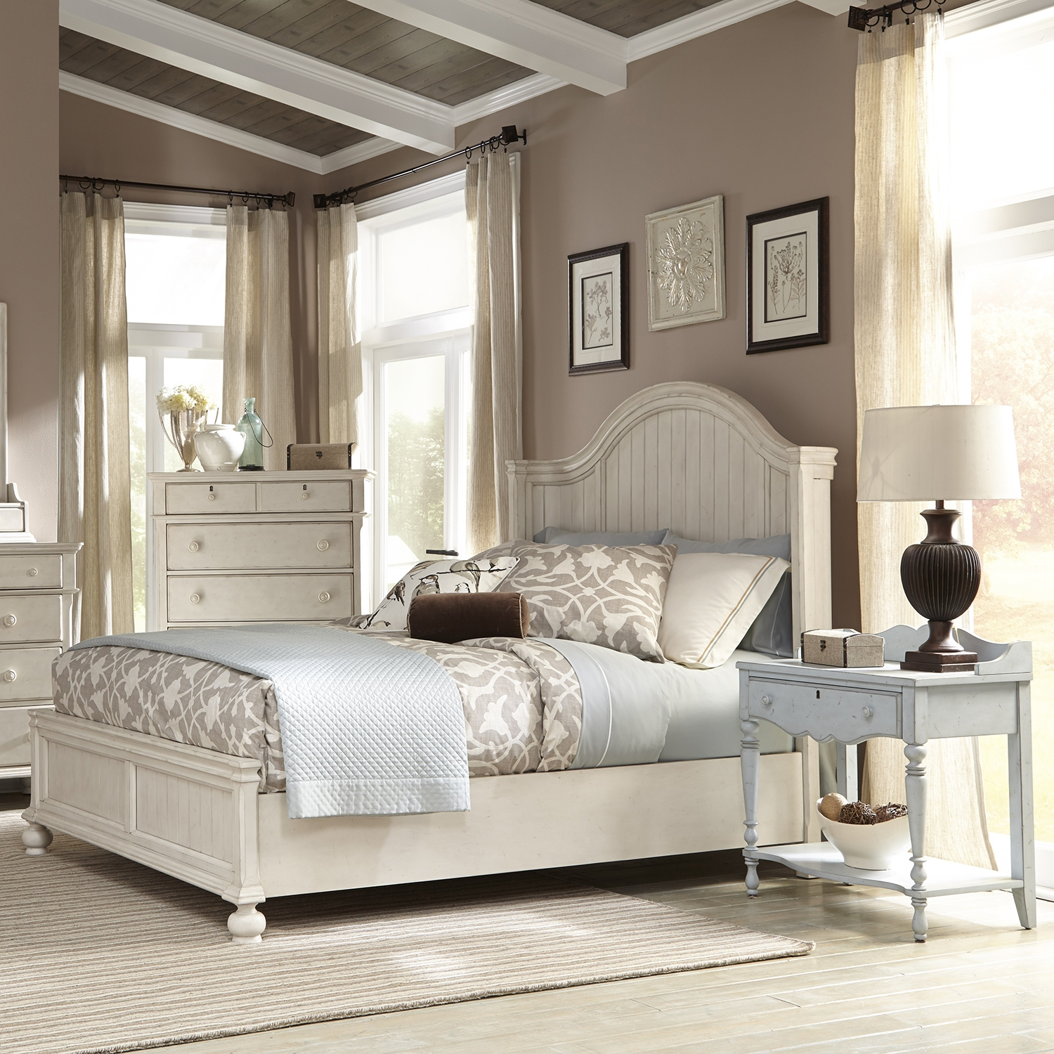 Newport King Panel Bed Bedroom Set In Antique Birch   AW 3710 66PAN  ...