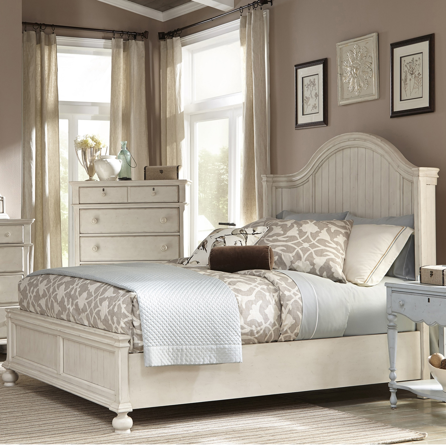 Newport King Panel Bed in Antique Birch - AW-3710-66PAN