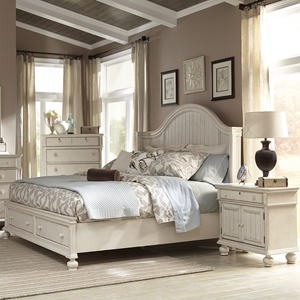 Newport Queen Panel Storage Bedroom Set in Antique Birch