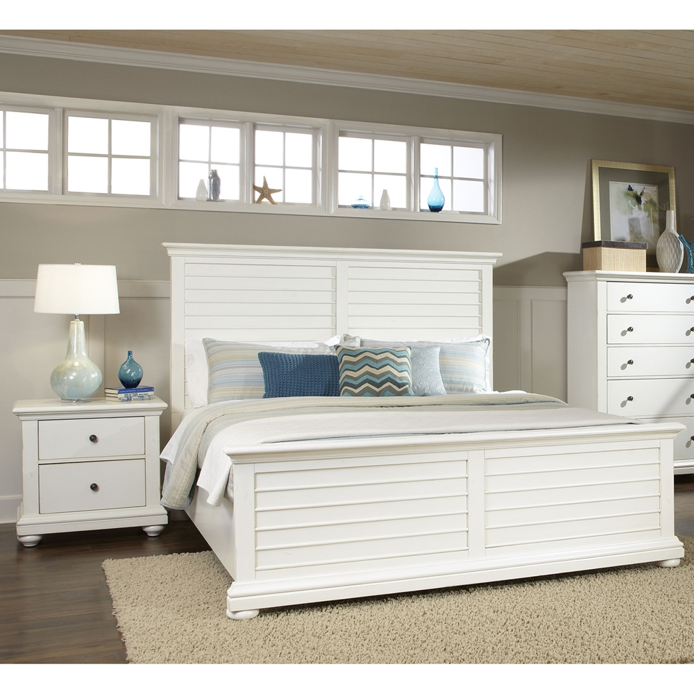 Pathways king panel bedroom set in antique white dcg stores for White king bedroom furniture sets