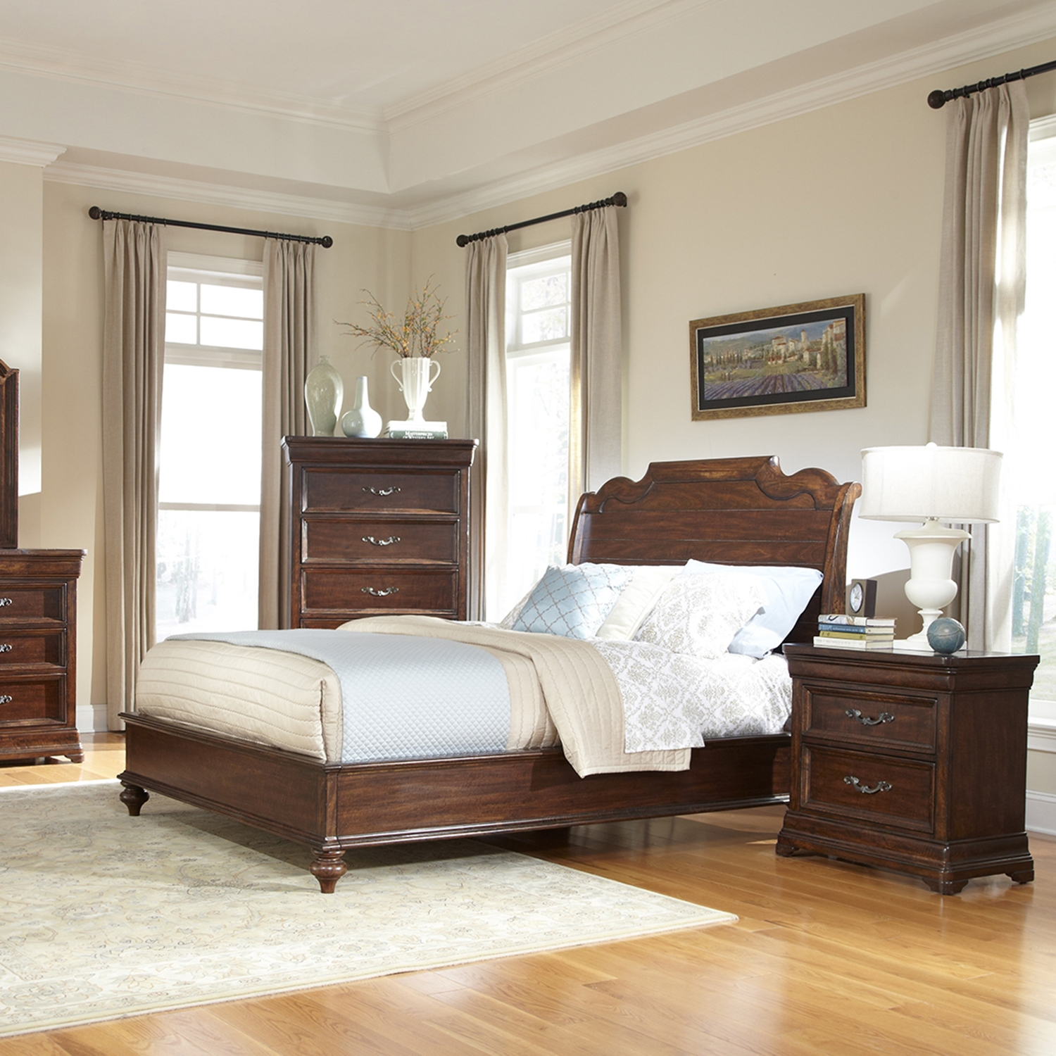 Signature King Sleigh Bed Set in Rich Dark Brown - AW-8000-KSLE-SET