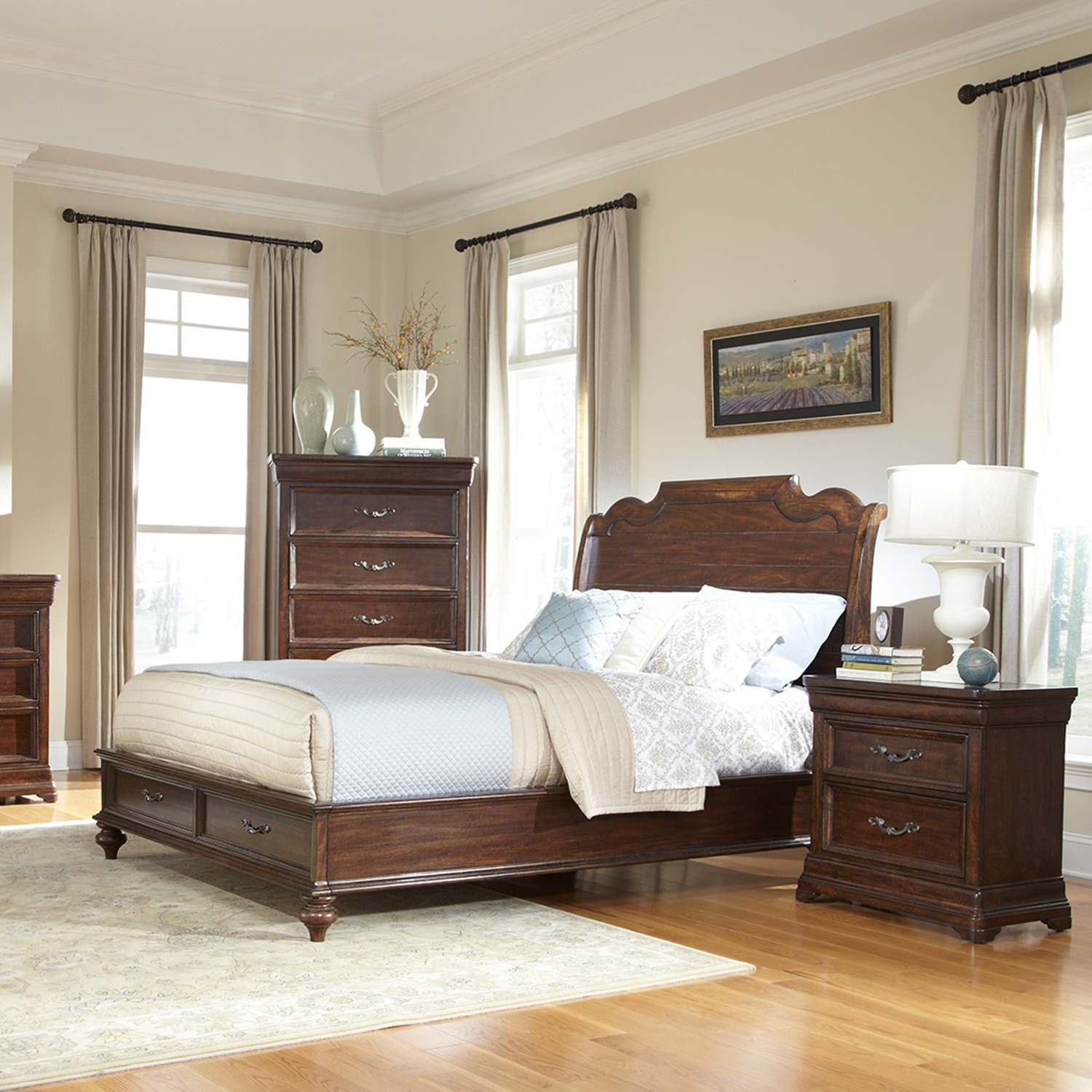 Signature Queen Sleigh Bed with Storage Set in Rich Dark Brown - AW-8000-QSLES-SET