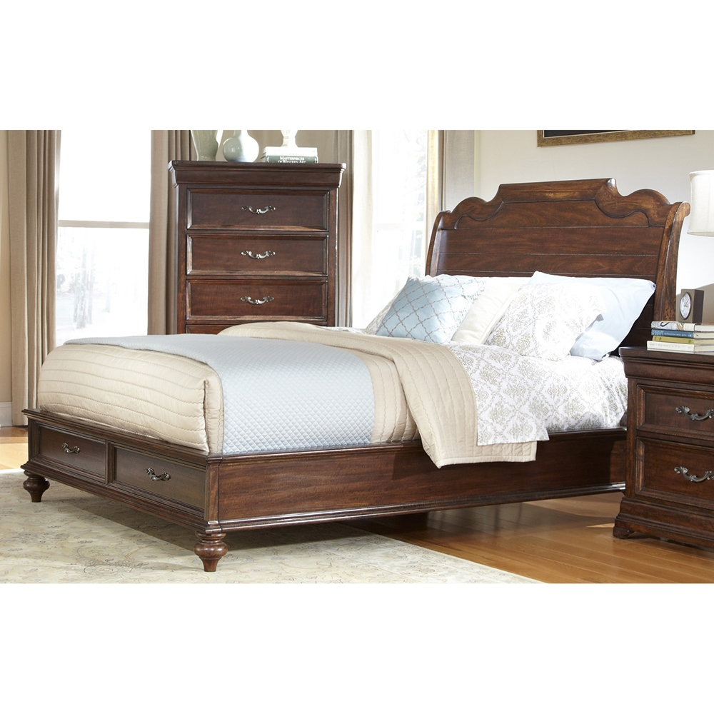 Signature King Sleigh Bed With Storage In Rich Dark Brown