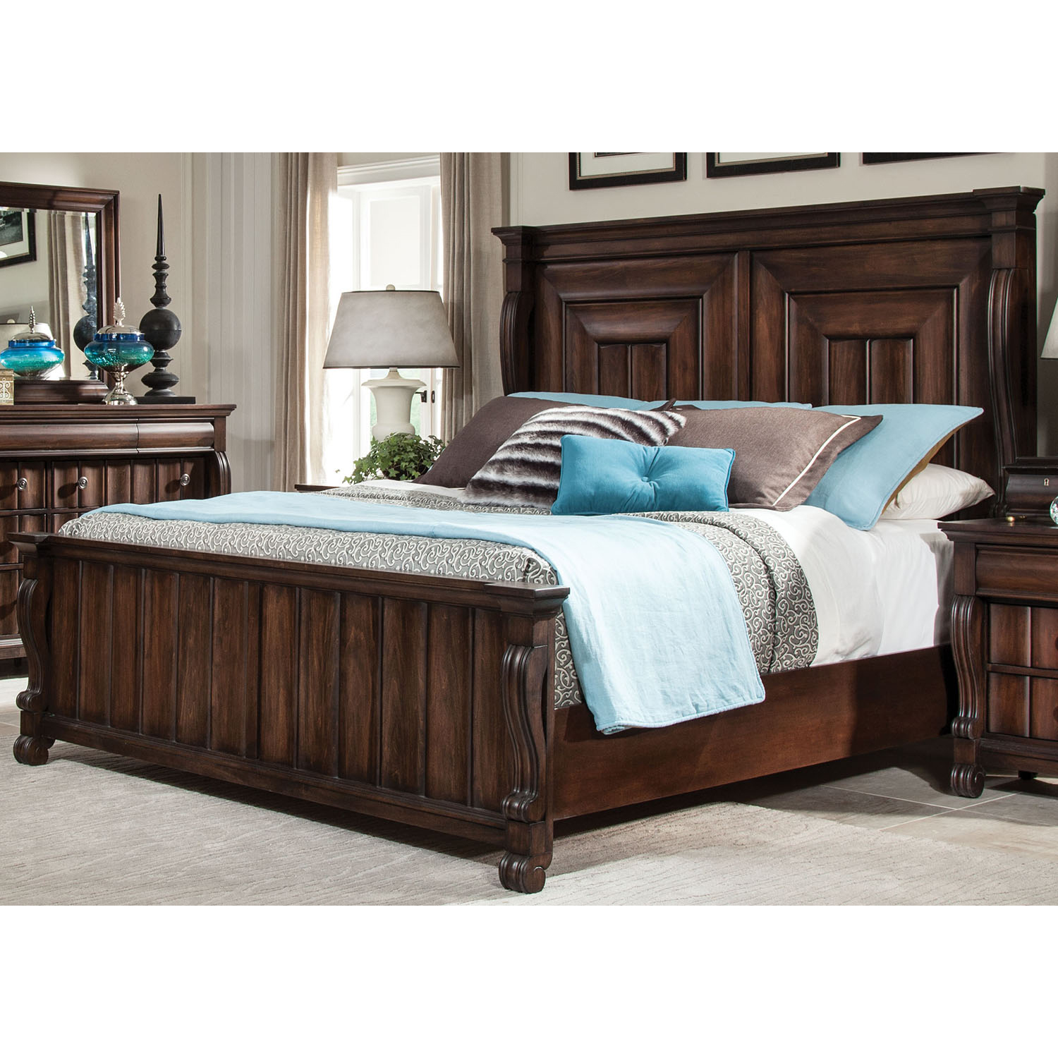 High Society Queen Panel Bed in Walnut - AW-8600-50PAN