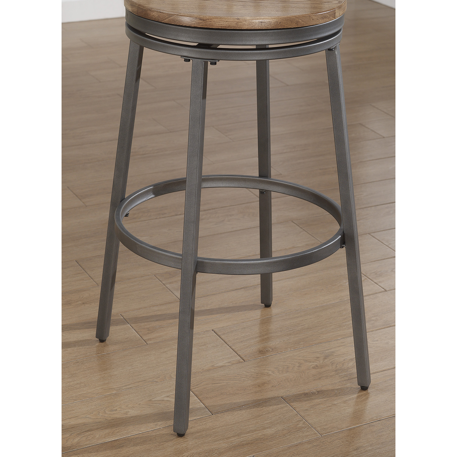 Stockton Backless Bar Stool - Slate Gray Frame, Golden Oak Seat - AW-B1-100-30W