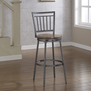 Filmore Swivel Bar Stool - Slate Gray Frame, Golden Oak Seat