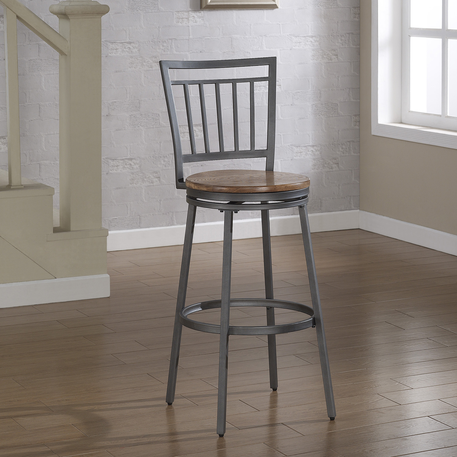 Filmore Swivel Bar Stool Slate Gray Frame Golden Oak