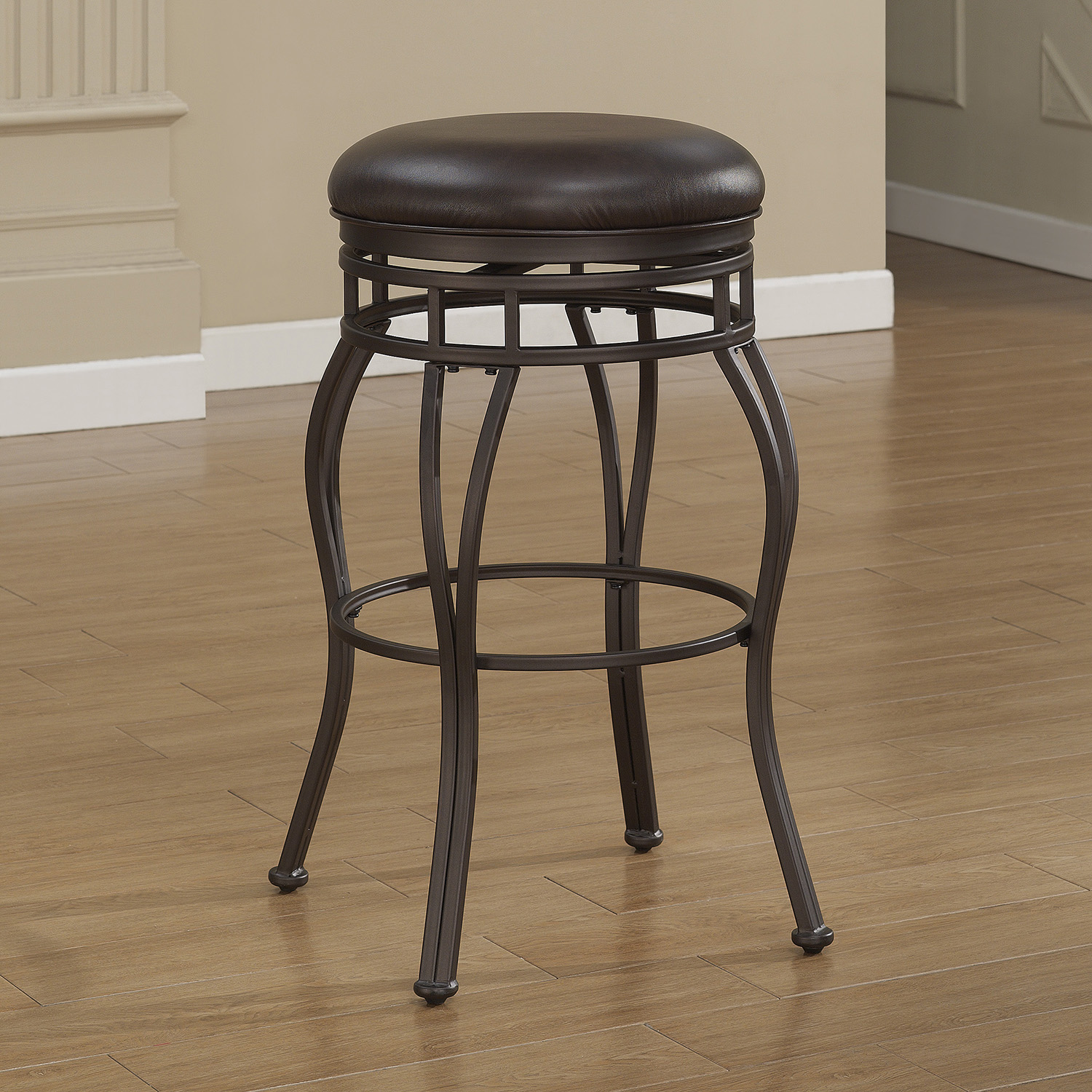 Villa Backless Tall Bar Stool - Taupe Gray, Russet Brown Bonded Leather - AW-B1-102-34L