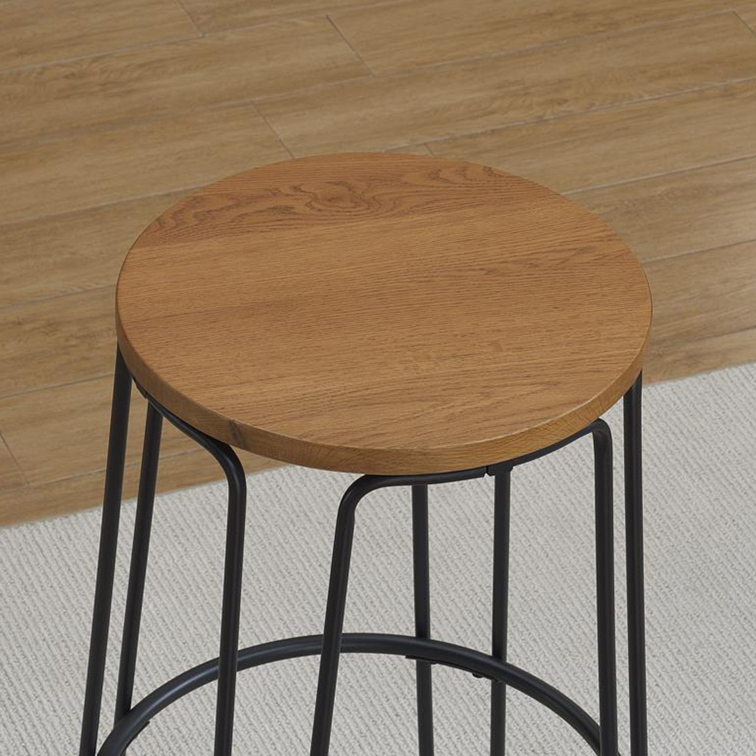 Temple Backless Counter Stool - Flat Black Finish, Honey Oak Seat - AW-B1-150-26W