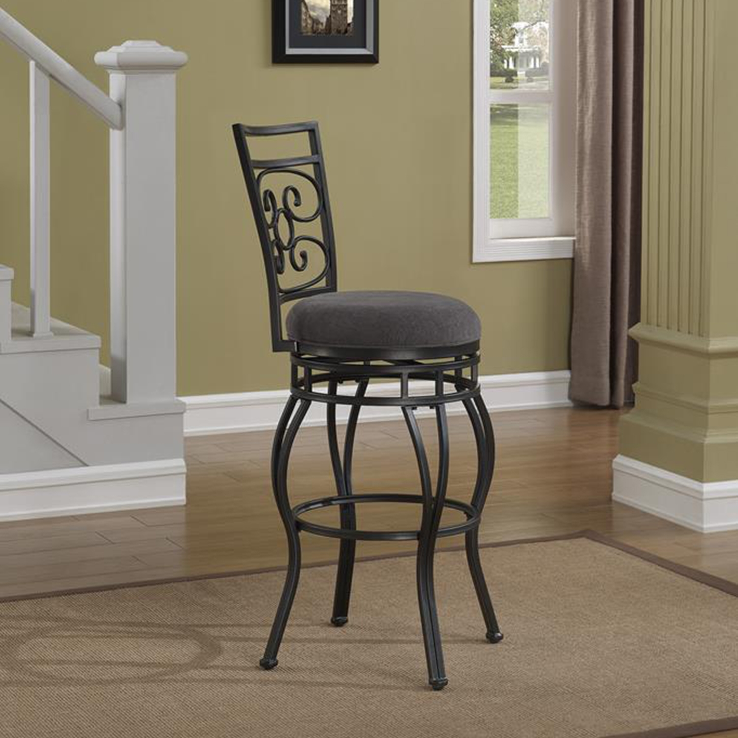 Albany Swivel Counter Stool - Charcoal Gray - AW-B1-151-26F