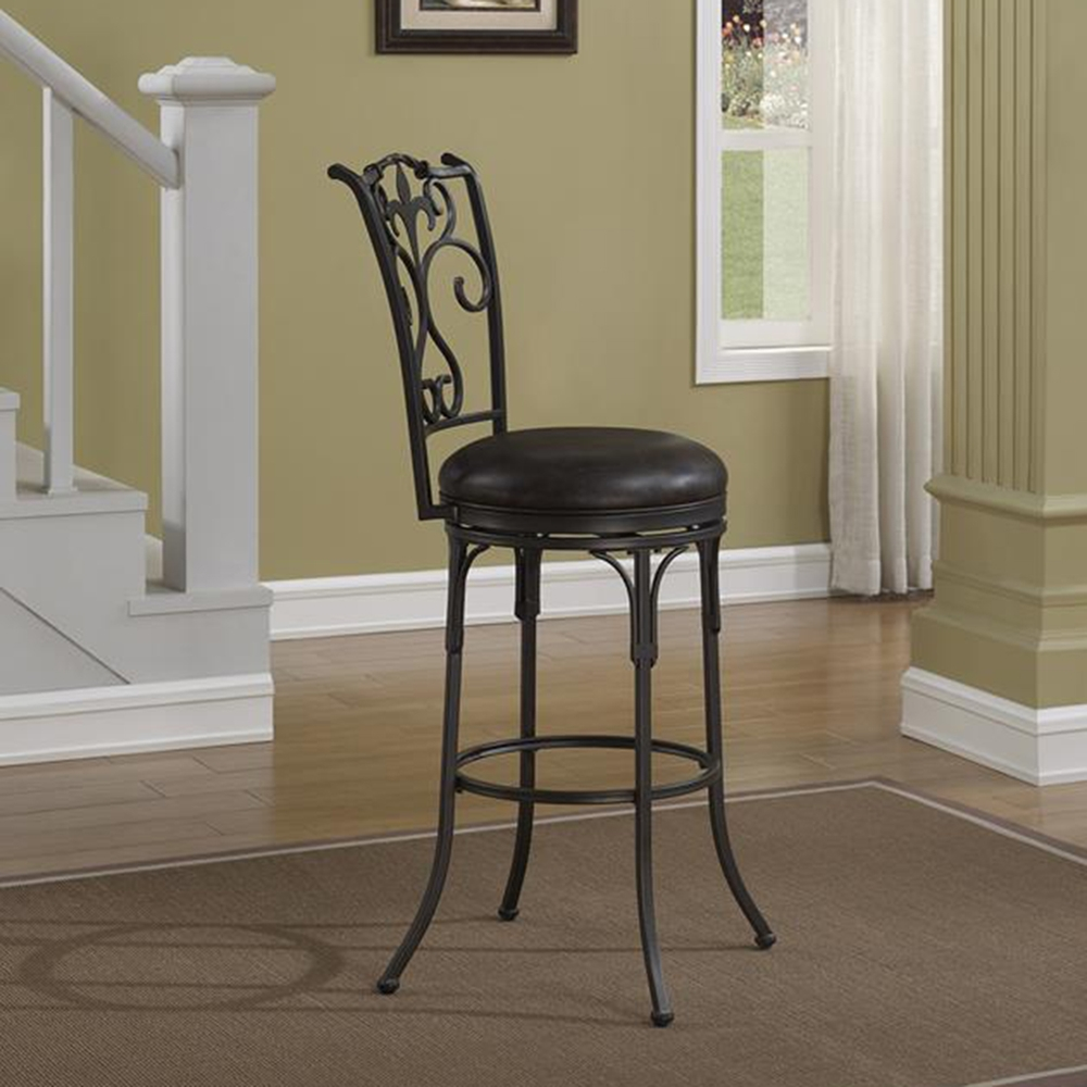 Accadia Swivel Counter Stool Taupe Gray Frame Brown