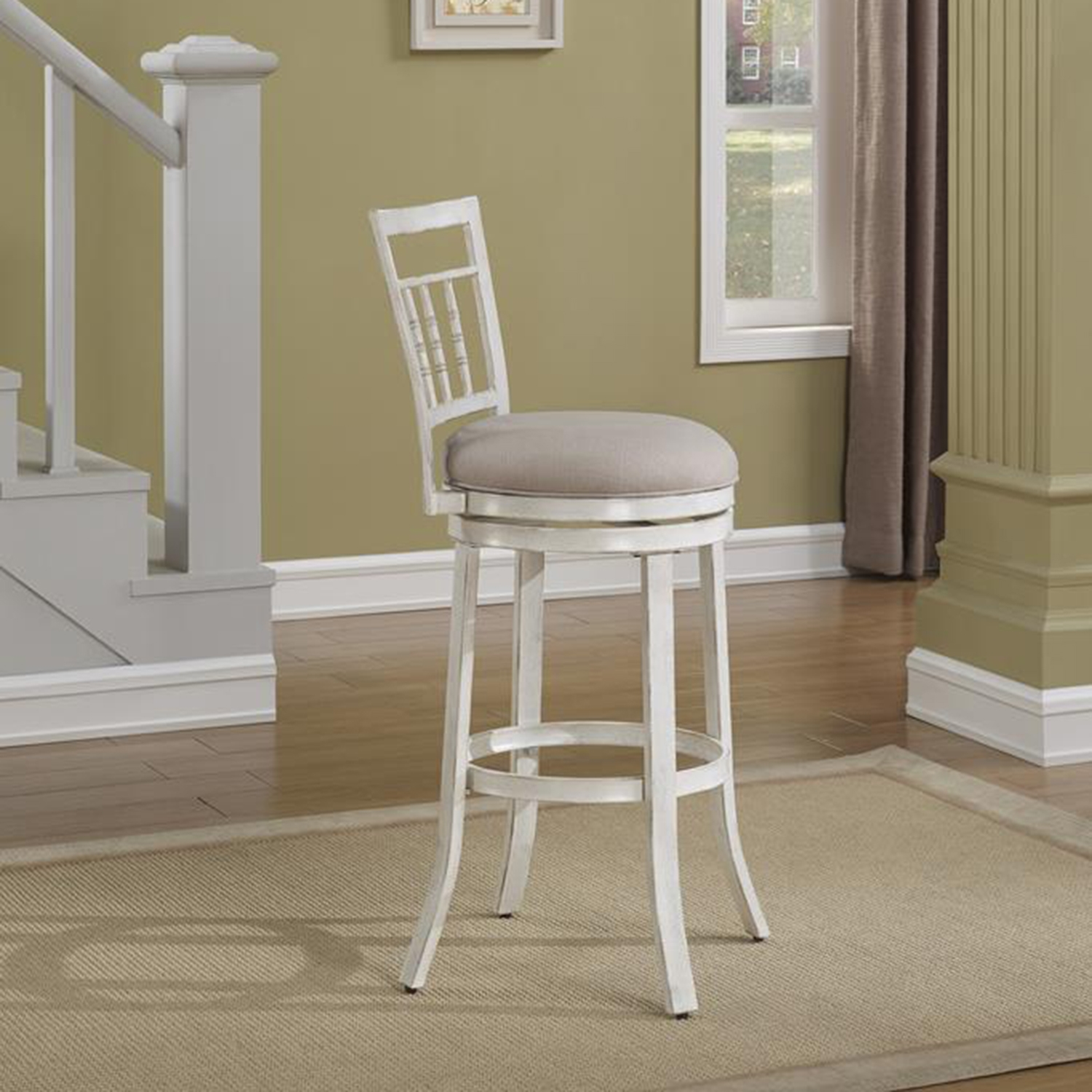 Palazzo Swivel Counter Stool Antique White Woven Fabric