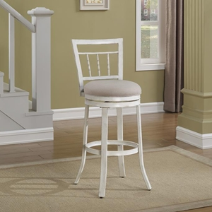 Palazzo Swivel Counter Stool - Antique White, Woven Fabric Seat