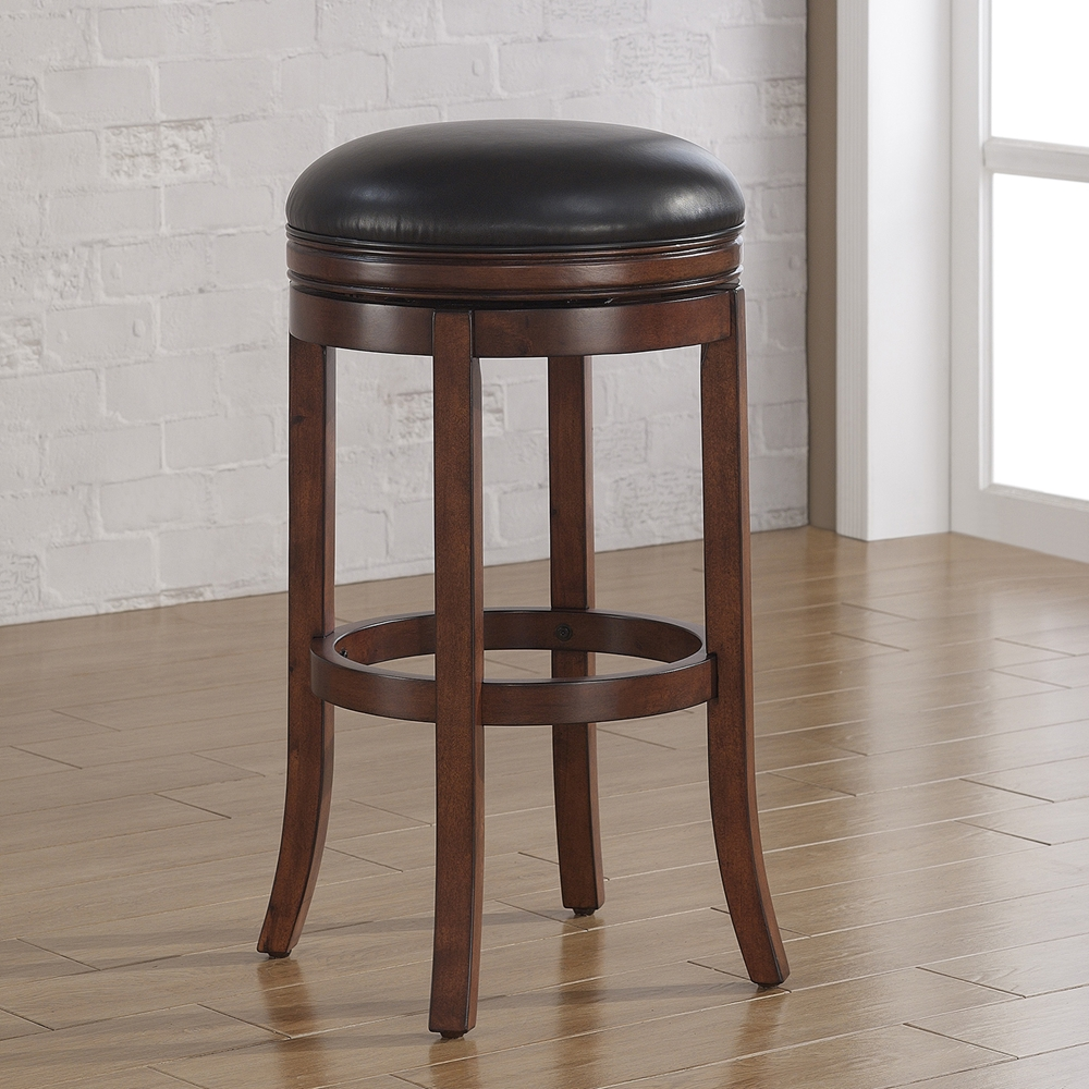 Stella Backless Counter Stool Medium Walnut Java Bonded