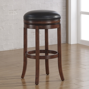Stella Backless Tall Bar Stool - Medium Walnut, Java Bonded Leather