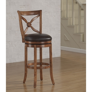 Provence Swivel Tall Bar Stool - Light Oak, Bourbon Bonded Leather