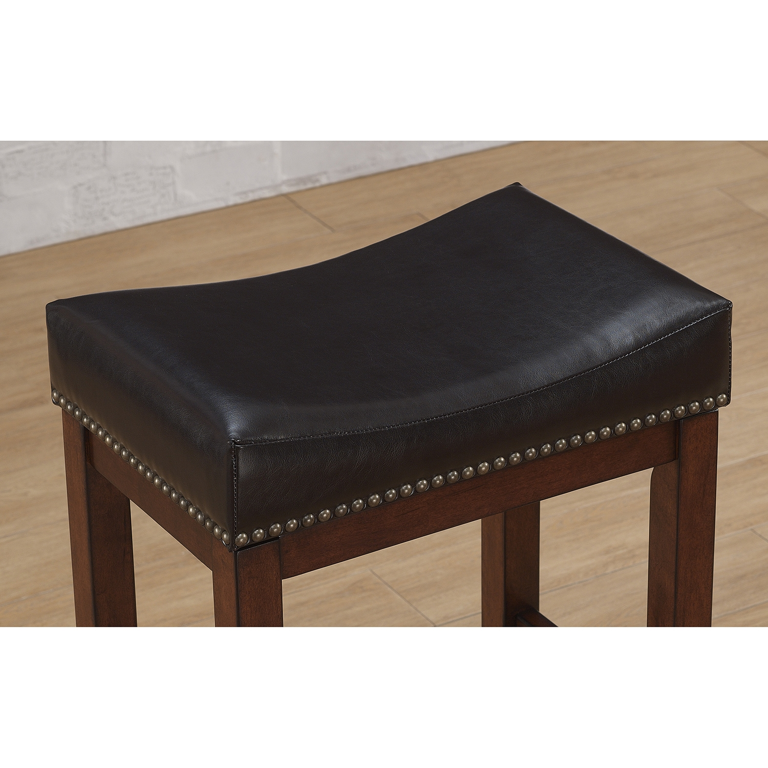 Jackson Saddle Seat Counter Stool - Medium Walnut, Dark Brown Bonded Leather - AW-B2-203-26L