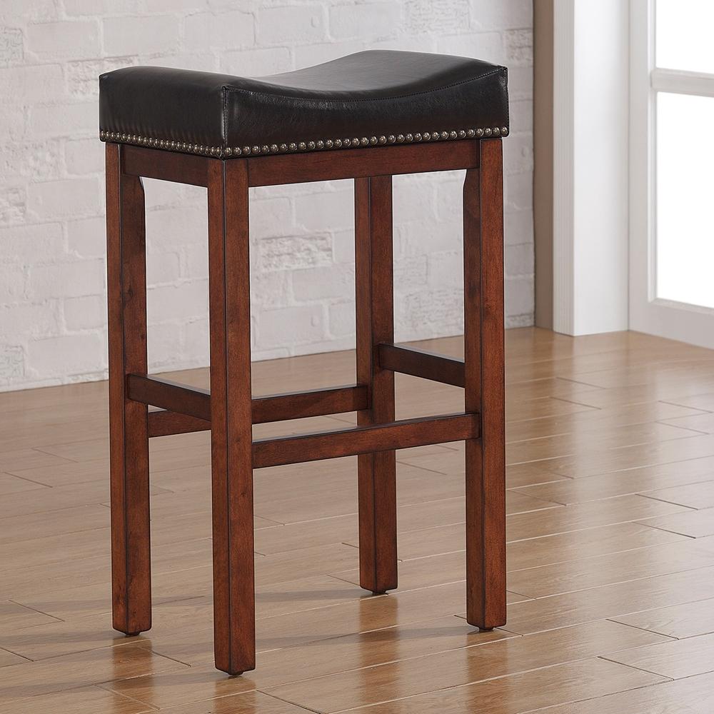 Jackson Saddle Seat Bar Stool Medium Walnut Dark Brown