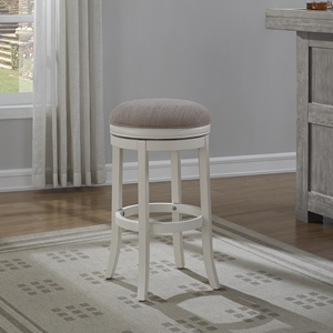 Aversa Backless Bar Stool - Antique White, Light Brown Fabric