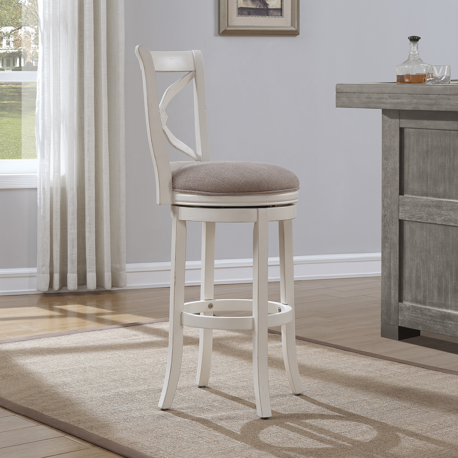 Accera Swivel Tall Bar Stool - Antique White, Light Brown Fabric - AW-B2-205-34FSU