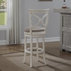 Accera Swivel Counter Stool - Antique White, Light Brown Fabric - AW-B2-205-26F
