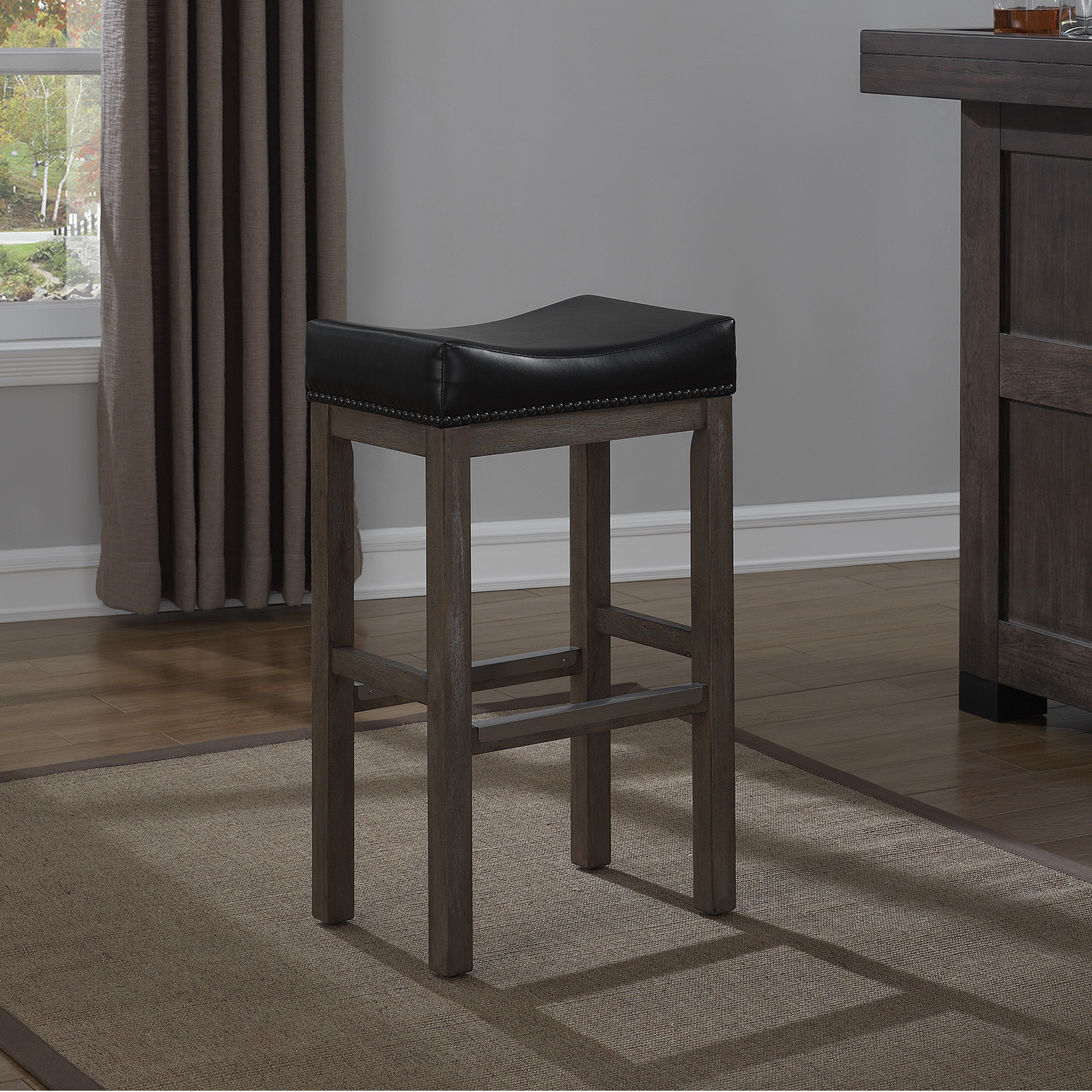 Walker Creek Saddle Seat Bar Stool Gray Driftwood Black