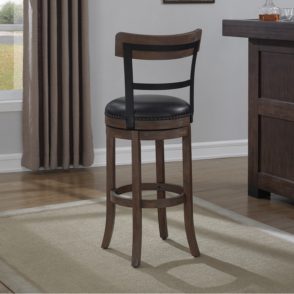 Taranto Swivel Counter Stool Washed Brown Black Bonded