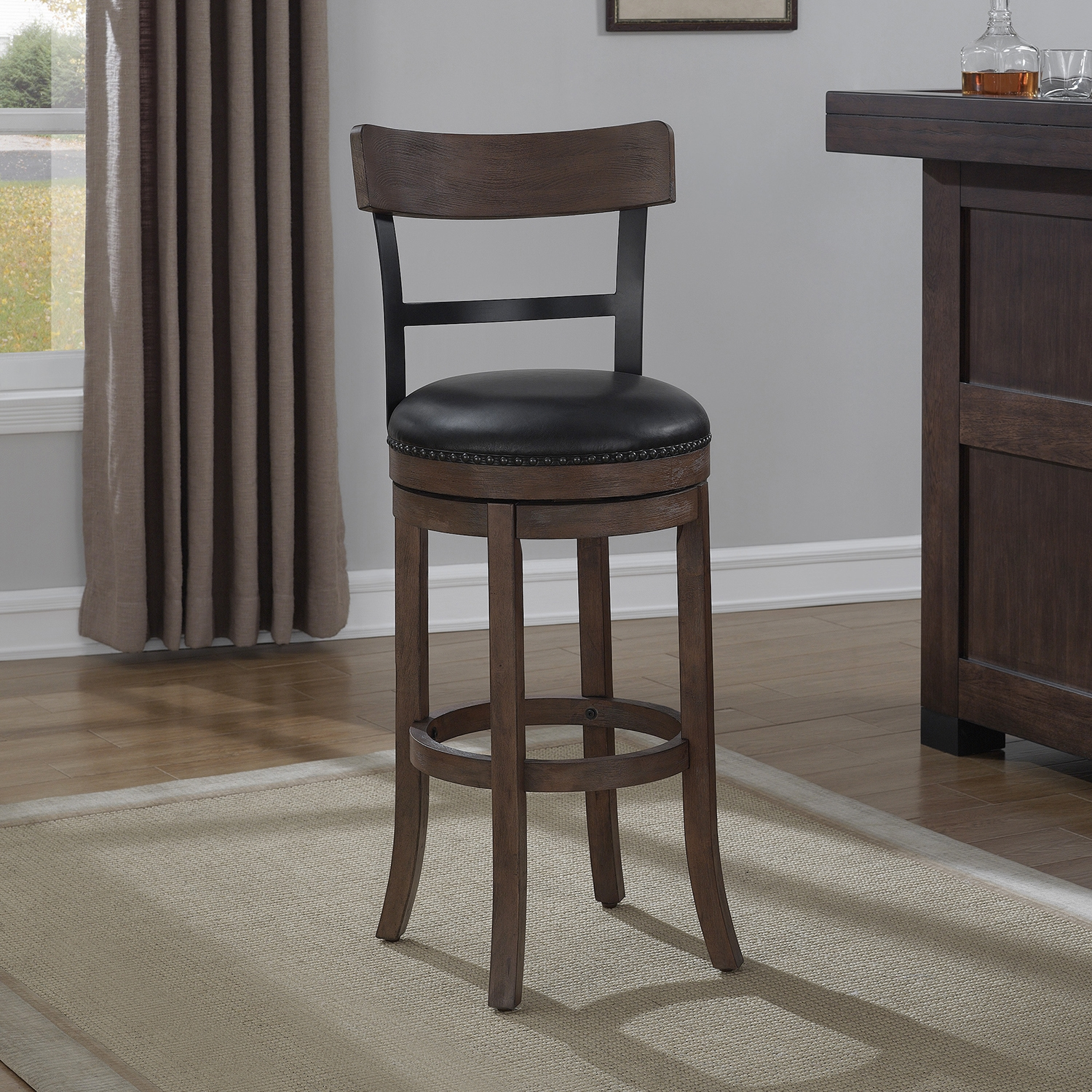 Taranto Swivel Bar Stool - Washed Brown, Black Bonded Leather - AW-B2-208-30L