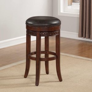 Conrad Backless Counter Stool - Cherry, Roast Bonded Leather