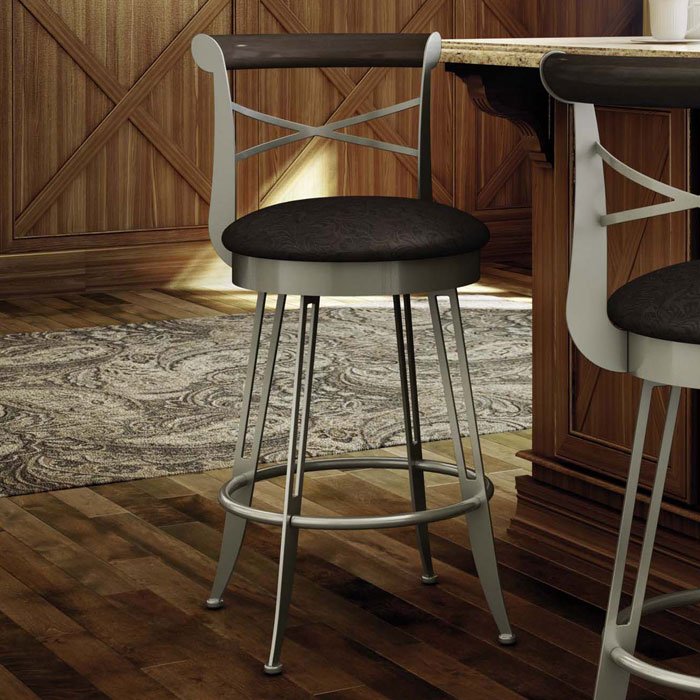 Historian 26'' Counter Stool - Swivel, Memory Return, Wood Accent - AMIS-41402-26