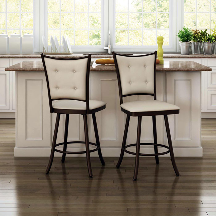 Paula 26'' Counter Stool - Swivel, Button-Tufted - AMIS-41450-26