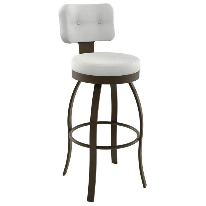 Swan 30'' Bar Stool - Swivel, Round Seat, Button Tufted - AMIS-41496-30