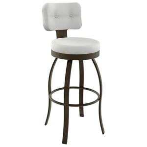 Swan 30%27%27 Bar Stool - Swivel, Round Seat, Button Tufted