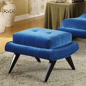 5th Avenue Ottoman in Cerulean Blue Fabric