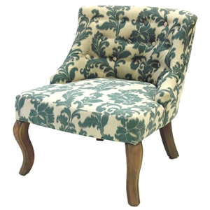 Ikat Fabric Accent Chair with Button Tufts